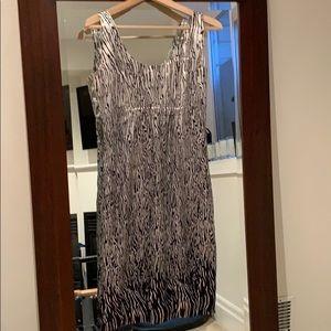 Silky feel  lined zebra print dress size 2 Danier